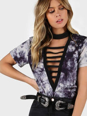 Ladder Cut Plunging Neck Tie Dye T-shirt