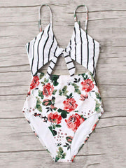 Flower Print And Striped Swimsuit