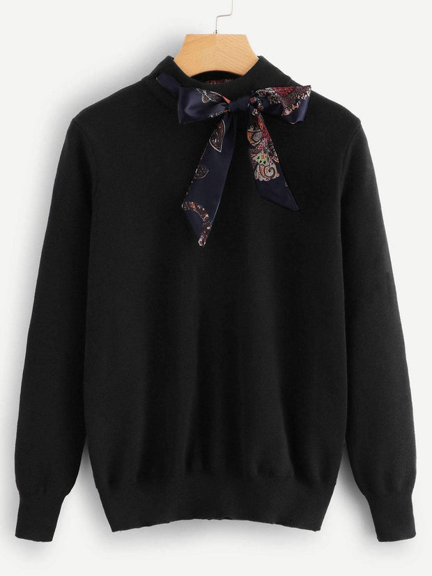 Knotted Bow Tie Sweater