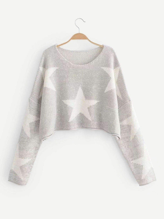 Drop Shoulder Crop Sweater