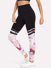 Contrast Panel Varsity-Striped Leggings