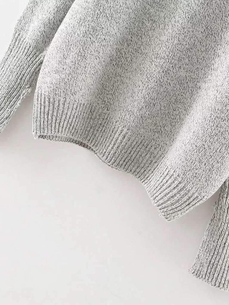 Crew Neck Ribbed Trim Drop Shoulder Knitwear