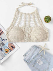 Hollow Out Knot Back Crocheted Halter Top