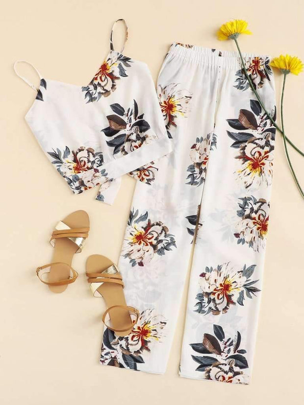 Knot Back Floral Print Cami With Pants