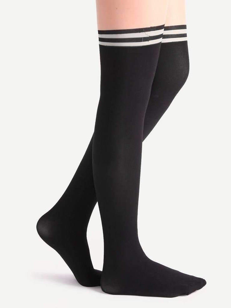 Black And Nude Patchwork Striped Pantyhose Stockings