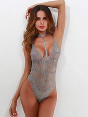 Scallop Trim Cross Back Lace Teddy