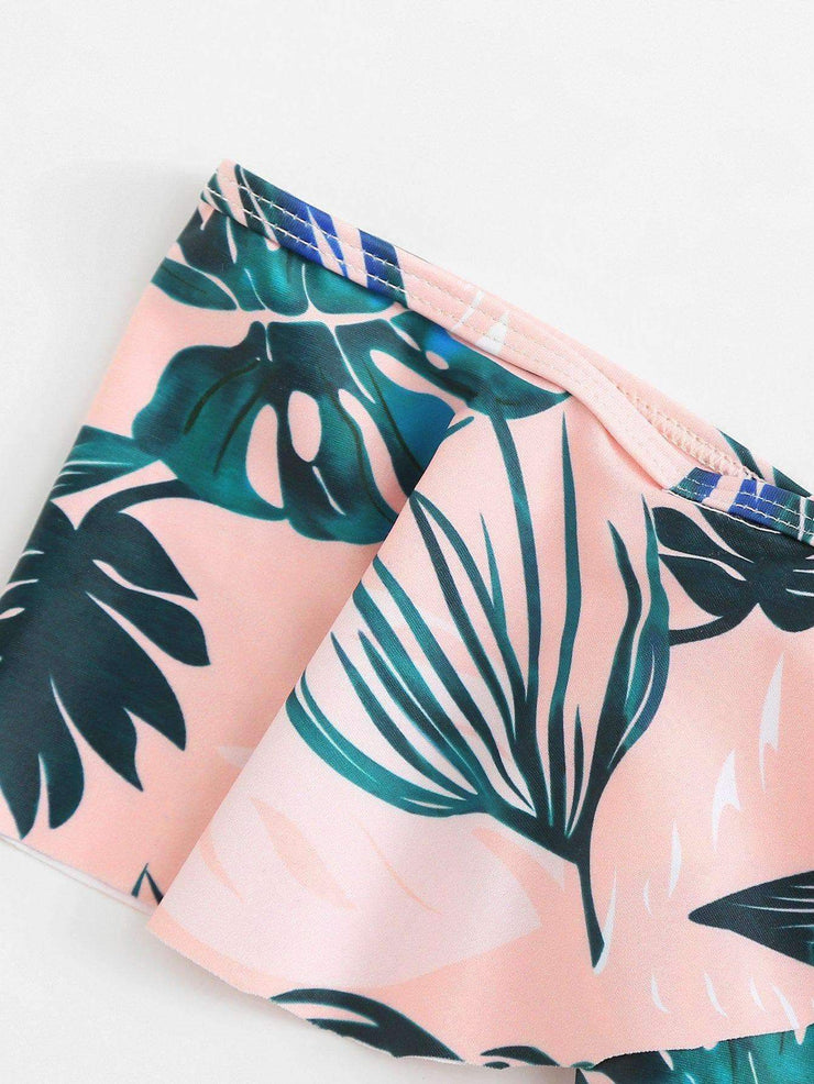Palm Print Off The shoulder Swimsuit