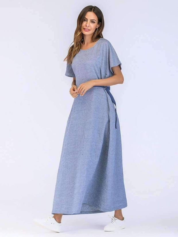 Tie Side Stripe Longline Dress