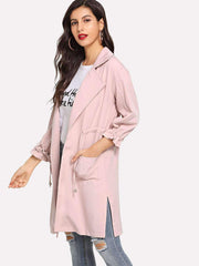 Drawstring Split Side Coat