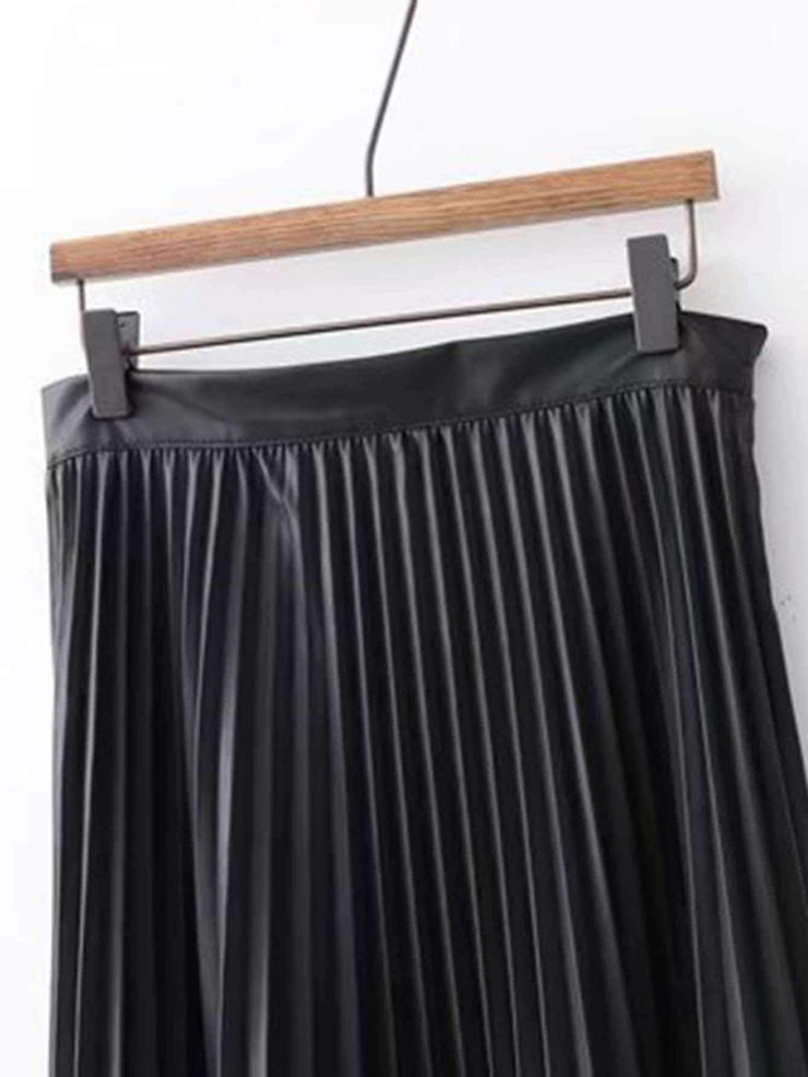 Pleated PU Skirt