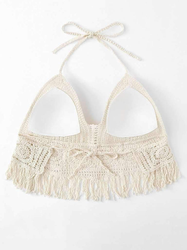 Hollow Out Fringe Hem Crocheted Halter Top