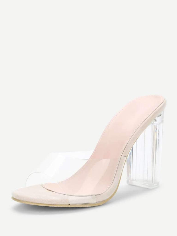 Clear Design Block Heeled Pumps