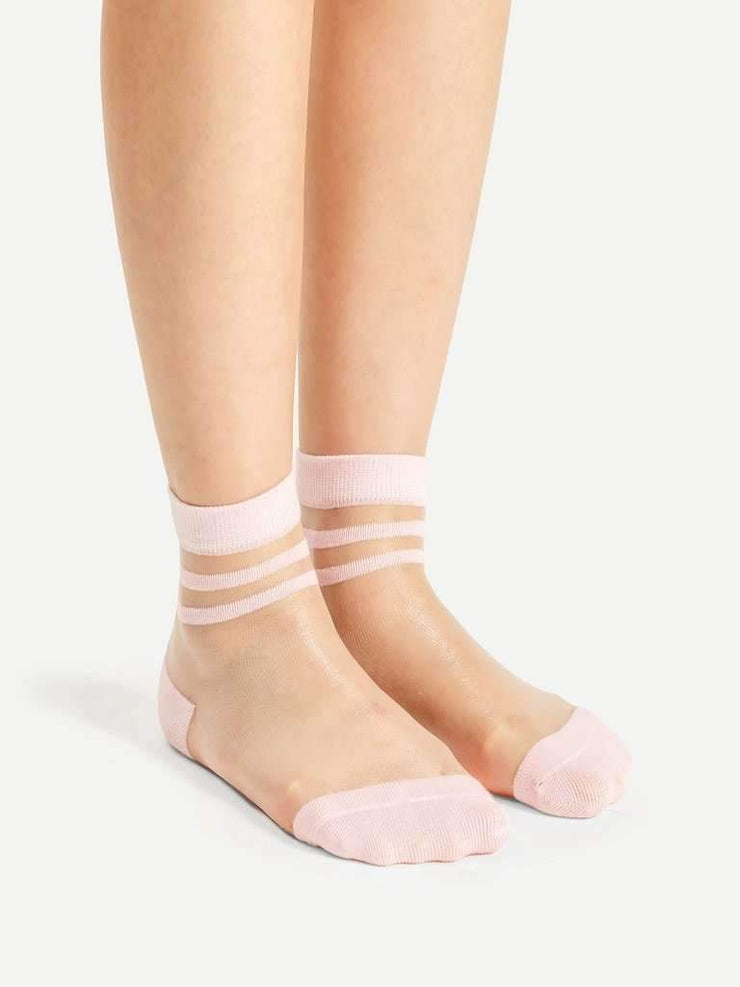 Striped Cuff Sheer Ankle Socks 4pairs