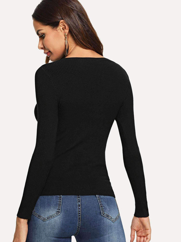 Cut Out Neck Sweater