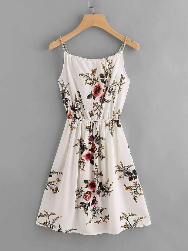 Floral Print Random Self Tie Cami Dress