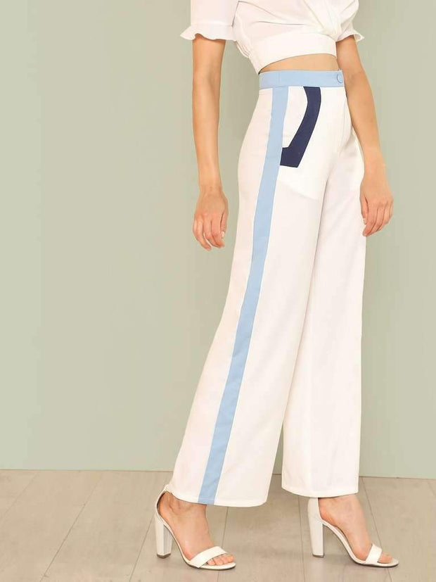 Cut And Sew Wide Leg Pants