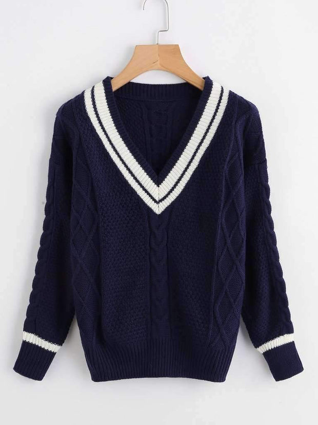 V Neckline Striped Trim Knit Sweater