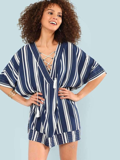 Striped Lace Up Cover Up