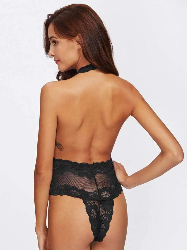 Deep V Plunge Backless Teddy