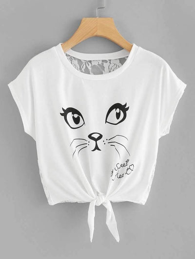 Cat Print Lace Back Knot Front Tee