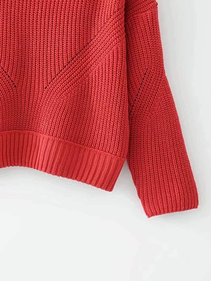 High Neck Ribbed Knit Pullover
