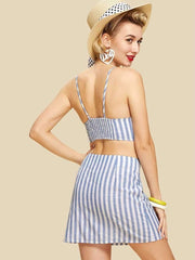 Button Up Crop Striped Cami & Skirt Co-Ord