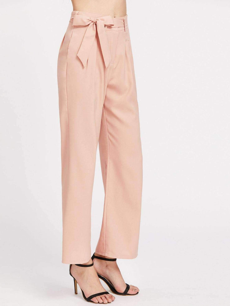 Self-Tie Wide Leg Pants
