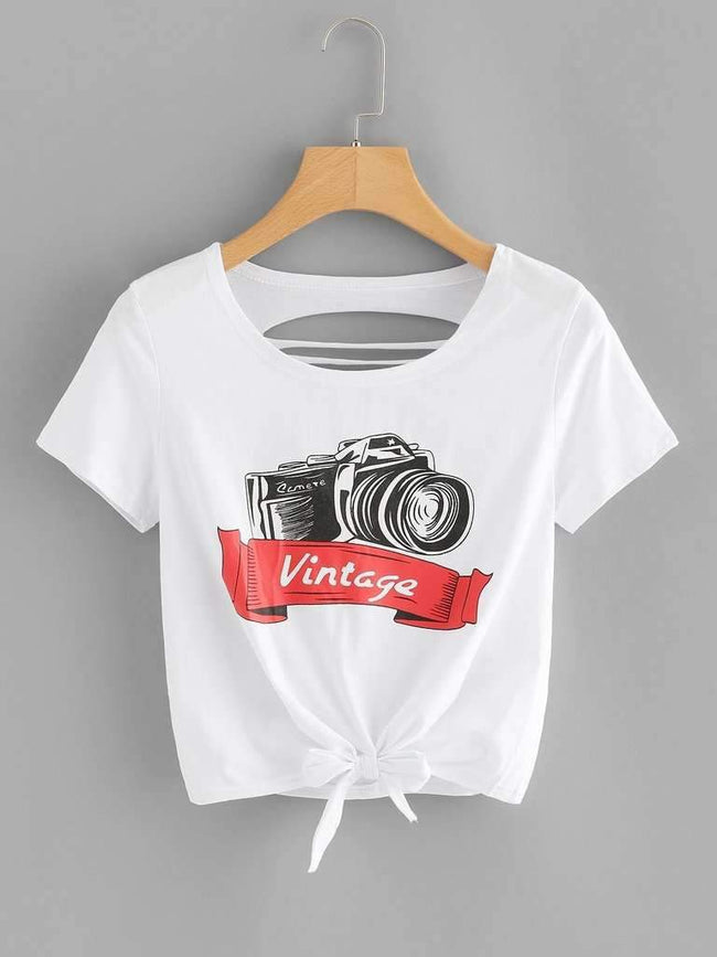 Ladder Cut Camera Print Knot Front Top
