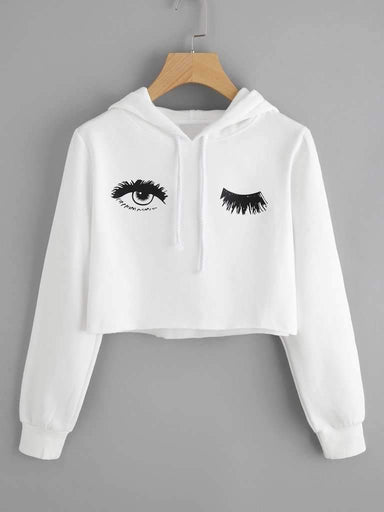 Blink One Eye Print Crop Hoodie