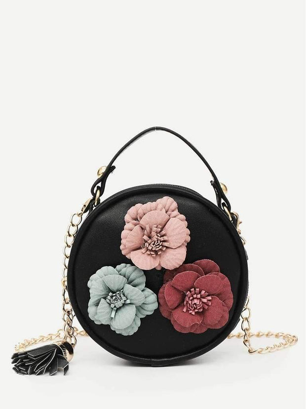 Flower Decor Round Chain Bag