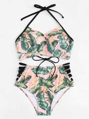 Cut Out Side Lace Up Back Bikini Set