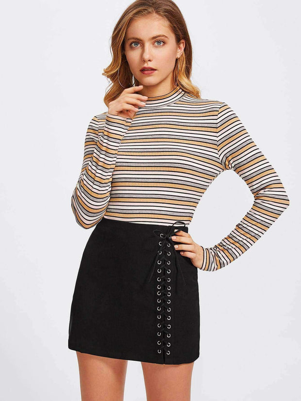Grommet Lace Up Skirt