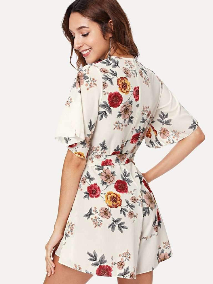 Self Tie Floral Print Wrap Jumpsuit