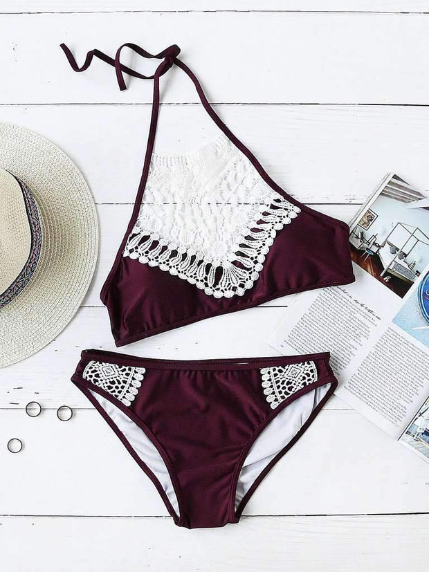Lace Crochet Halter Bikini Set