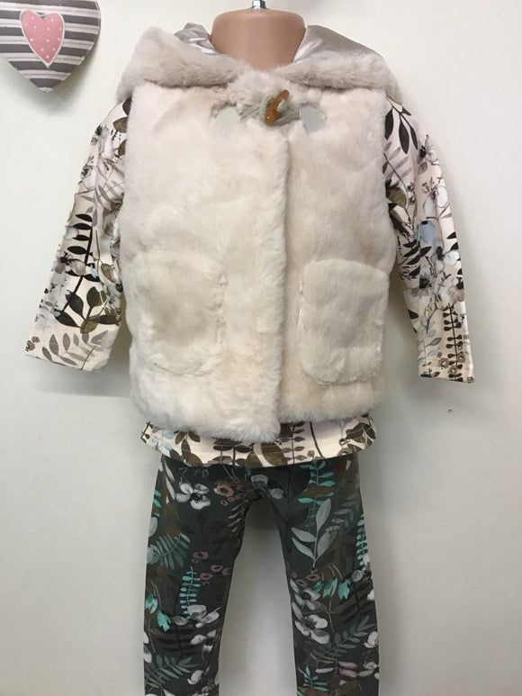 Baby Girl 3 Piece Furry Gilet Set (6-24 months)