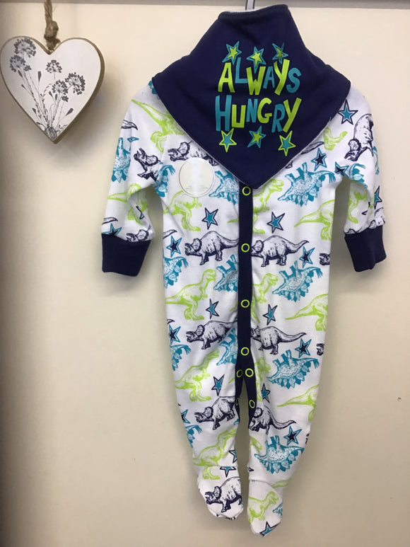 Baby Boys 2 Piece Dino Print Sleepsuit and Bib Set (NB-3 months)
