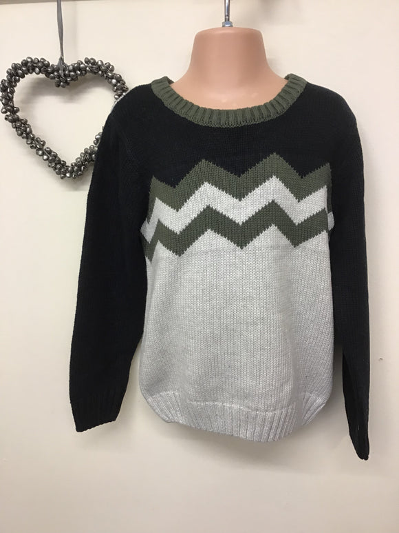 Boys Chunky Knit Zigzag Jumper (3-8 years)