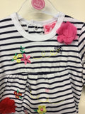 Striped flowery Embroidered  sleepsuit