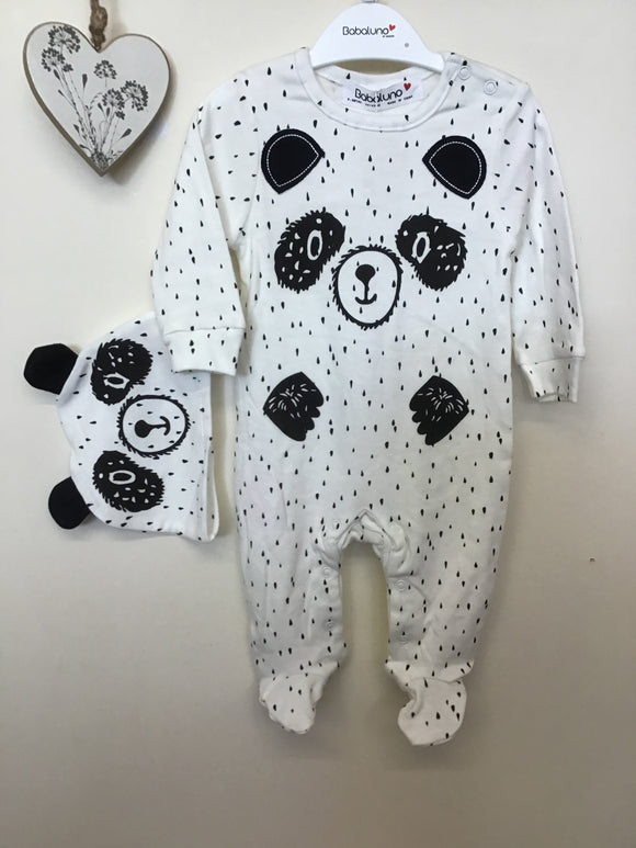 Unisex 2 Piece Panda All in One & Hat Set (Newborn-6 months)