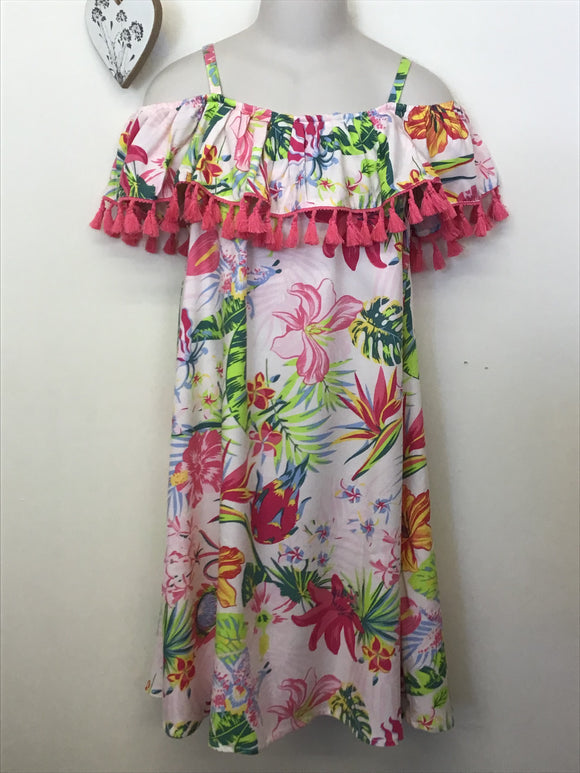 Girls Strappy Tropical Print Summer Dress (9-13 years)