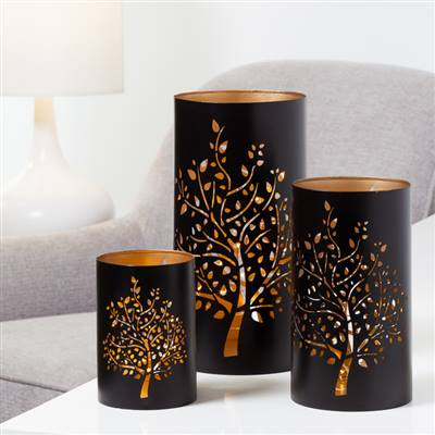 Arbor Tree Metal Candle Holders - Set of Three