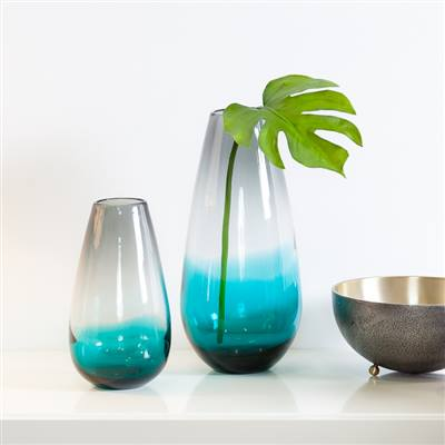 Aqua Ombre Glass Vase