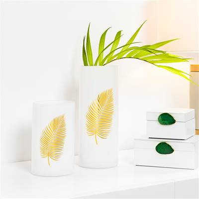Gold Palm Leaf White Cylinder Vase