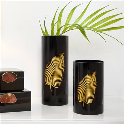 Gold Palm Leaf Black Cylinder Vase