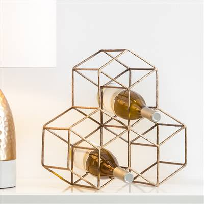 Hexagon Antique Brass 9 Bottle Wine Rack