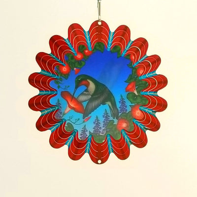Stainless Steel Wind Spinner - Animated Red Humming Bird