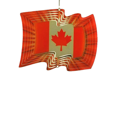 Stainless Steel Wind Spinner - Canadian Flag
