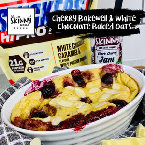 Cherry Bakewell & White Chocolate Baked Oats | theskinnyfoodco