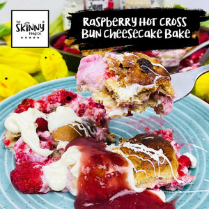 Raspberry Hot Cross Bun Cheesecake Bake | theskinnyfoodco