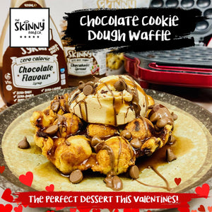The Perfect Chocolate Cookie Dough Waffle for Valentines Day! | theskinnyfoodco